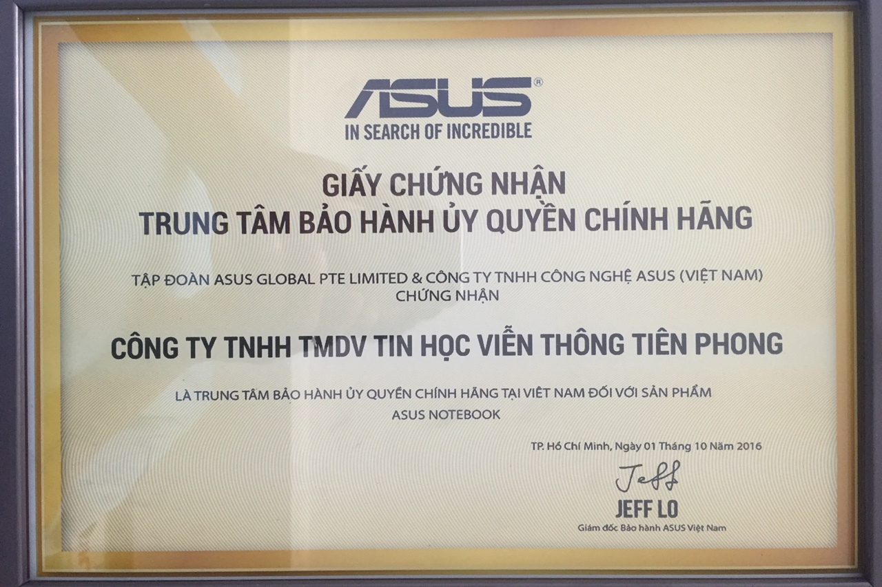 Trung tâm bảo hành ủy quyền chính hãng ASUS từ năm 2016.